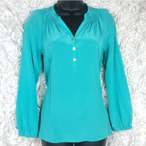 Lilly Pulitzer Turquoise And Gold Silk Elsa Top